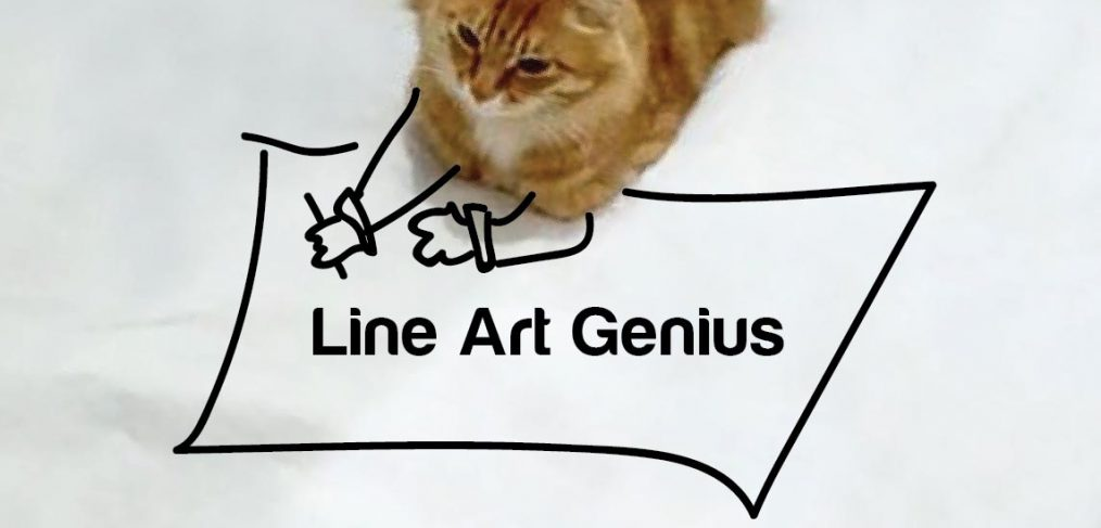 line art genius drawing cat